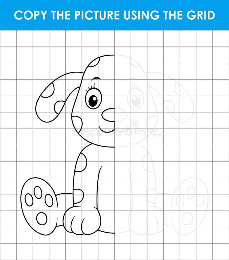 Cute dalmatian dog sitting. Grid copy game, complete the picture educational children game stock illustration