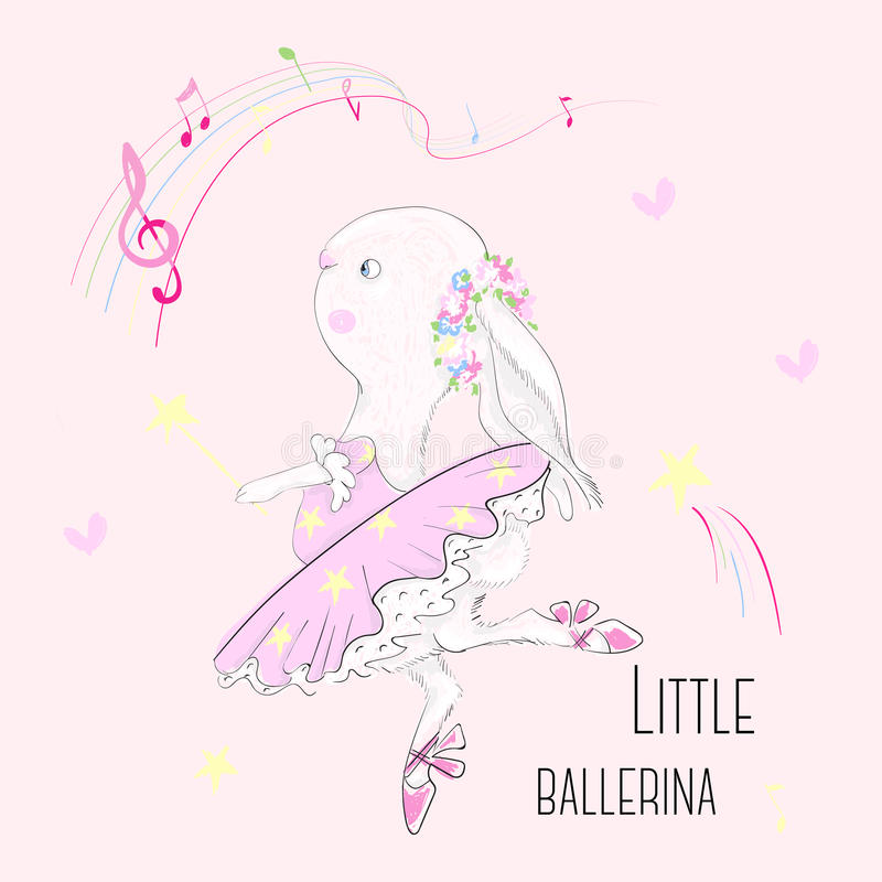 Cute dancer bunny with slogan. Vector baby illustration with ballerina for fashion apparels, t shirt, stickers and printed tee design royalty free illustration