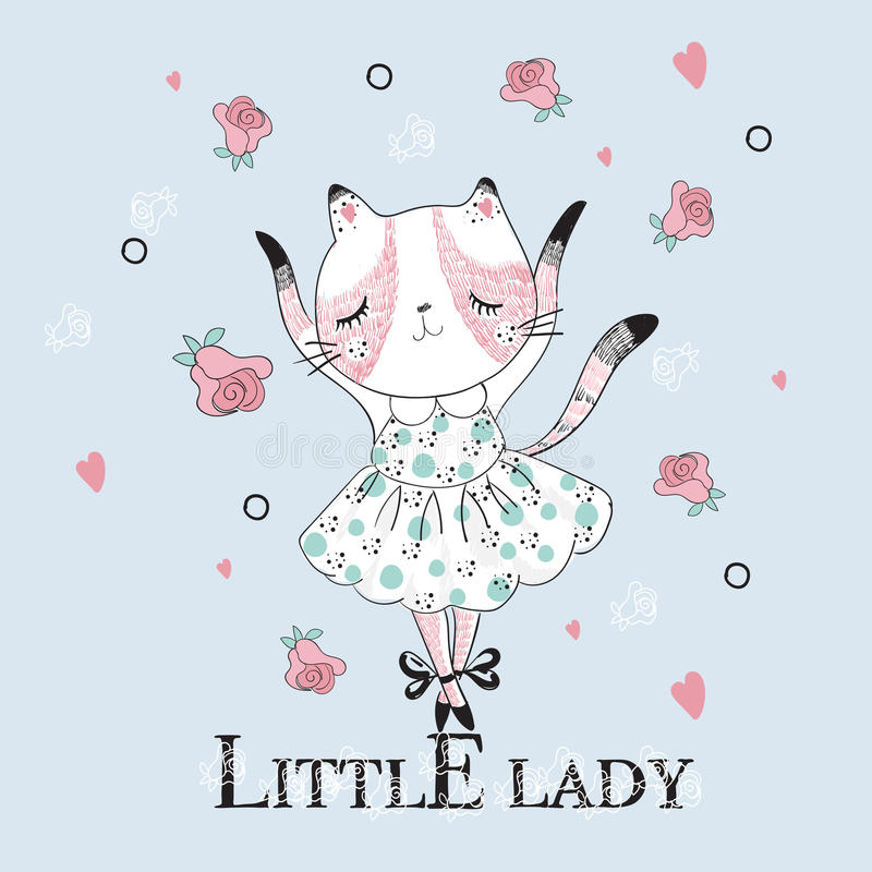 Cute dancer cat with Little lady slogan. Vector baby patch for fashion apparels, t shirt, stickers, embroidery and printed tee design royalty free illustration