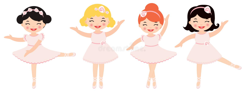 Cute dancing ballerinas royalty free illustration