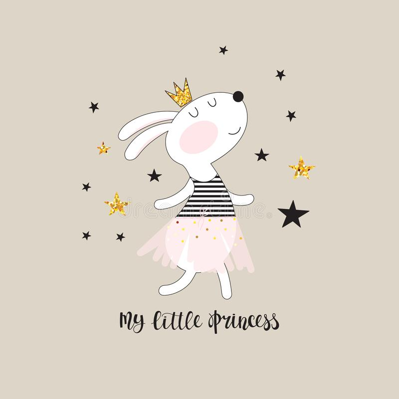 Cute bunny princess stock illustration