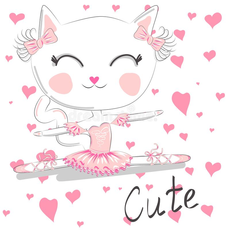 Cute dancing cat in a pink dress on blue background. Ballerina love dancing. Cute dancing cat in a pink dress. Ballerina love dancing. Hand drawn t-shirt royalty free illustration