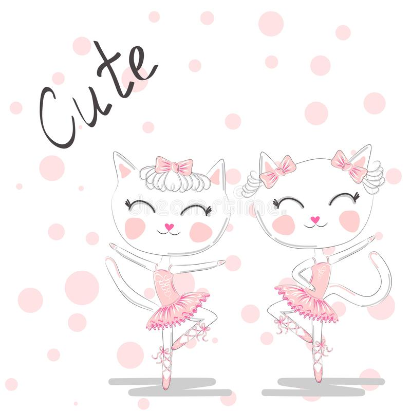Cute dancing cat in a pink dress on blue background. Ballerina love dancing. Cute dancing cats in a pink dress. Ballerina love dancing. Hand drawn t-shirt royalty free illustration