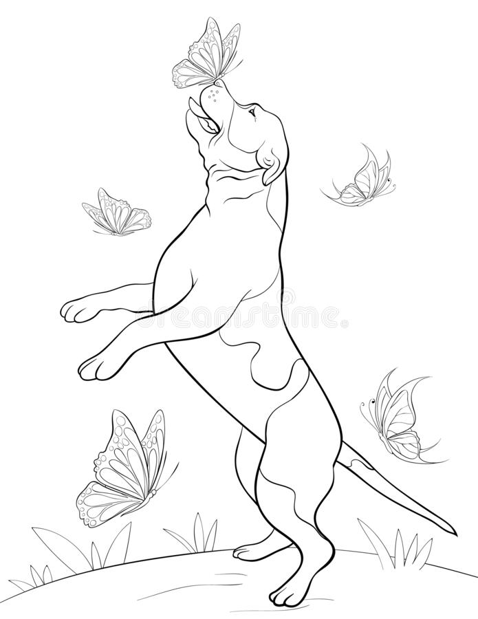 Coloring page,book a cute dancing dog image for children,line art style illustration for relaxing. A cute dancing dog image for children line art style vector illustration