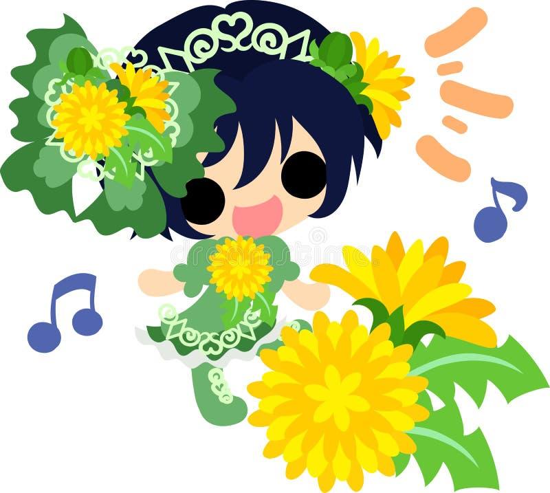 Cute dandelion girl. Illustration of a cute girl and dandelion stock illustration