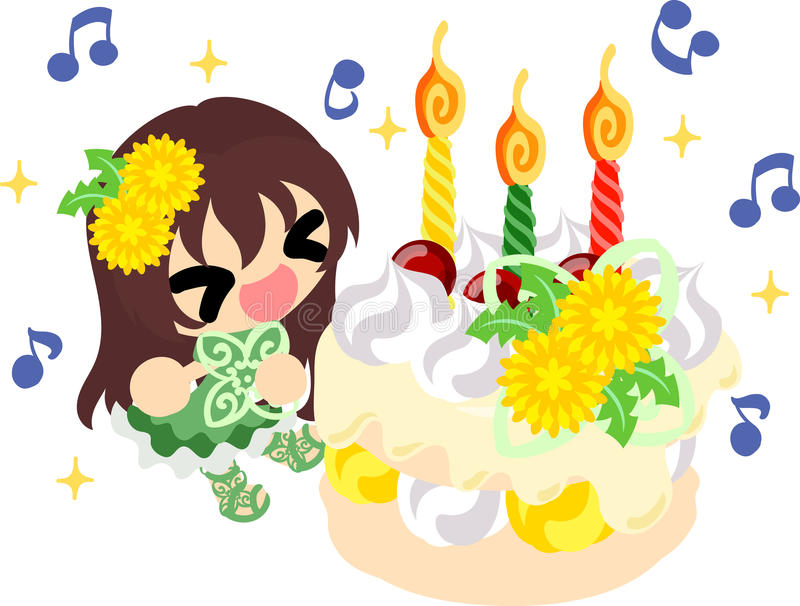 Cute dandelion girl. Illustration of a cute girl and a birthday cake vector illustration