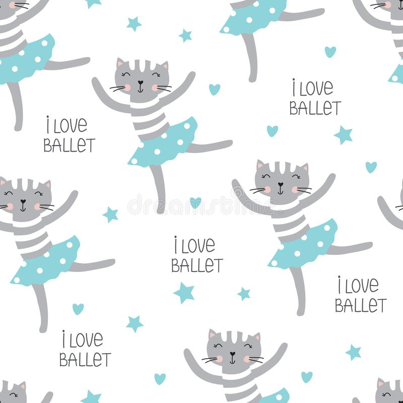 Cute dansing cats seamless pattern stock illustration