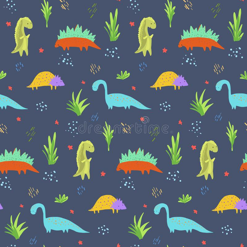Cute dark blue dinosaurs pattern for kids textile. Cute dark blue seamless pattern with bright colorful dinosaurs for kids textile. Childish texture with royalty free illustration
