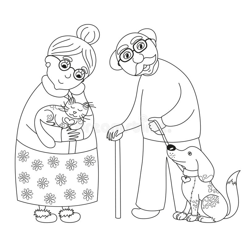Cute darling grandmother and grandfather, coloring book page for children vector illustration