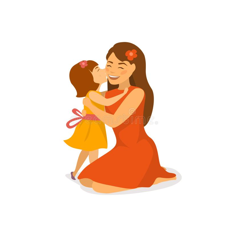 Cute daughter kissing and hugging her mom, mothers day greeting cartoon vector illustration vector illustration