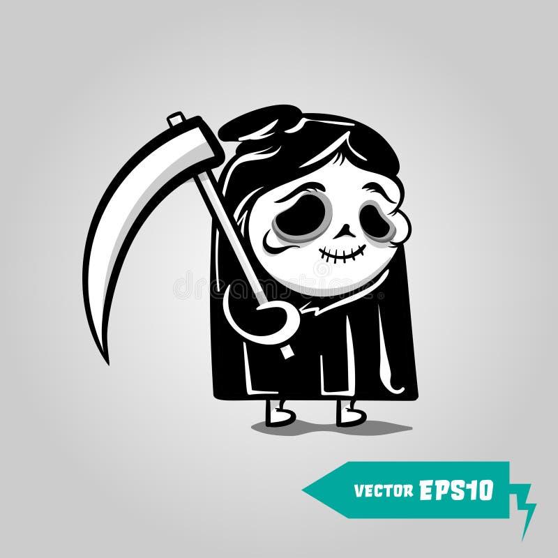 Cute Death with a scythe helloween sticker vector illustration
