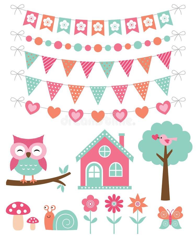 Cute decoration and nature design elements set stock illustration