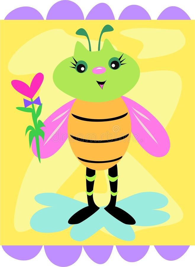 Download Cute Decorative Bee With Flower Stock Vector - Illustration of wildlife, insect: 10850386