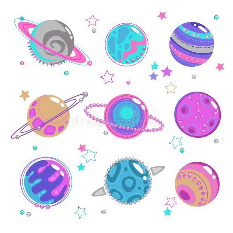 Cute decorative fantasy planet icons set. Isolated girlish space patch collection, vector elements on white background stock illustration