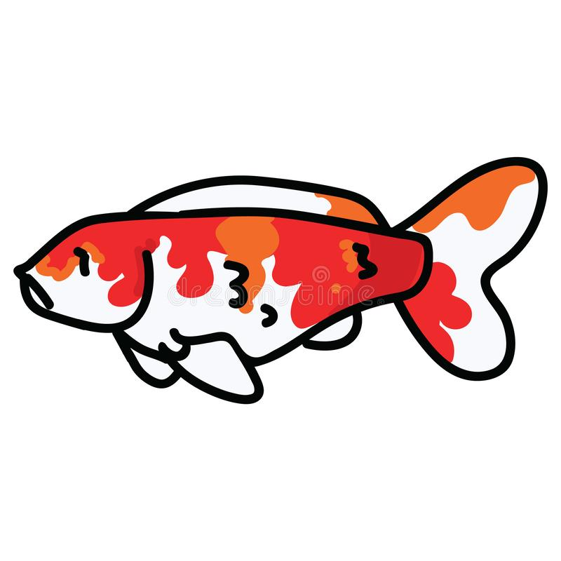 Cute decorative koi fish vector illustration. Orange pond life clip art. royalty free illustration