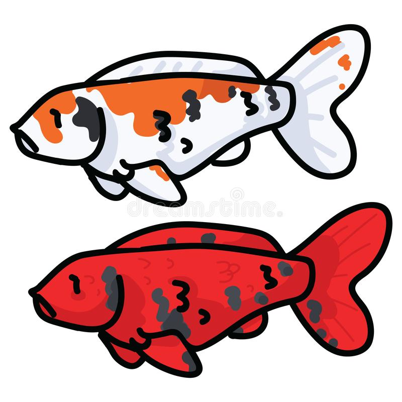 Cute decorative koi fish vector illustration. Orange spotted pond life clip art. stock illustration