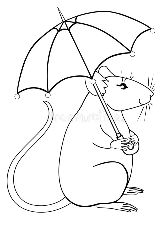 Cute, decorative rat with an umbrella. Kawaii rat is hiding under an umbrella. Positive character - rat - vector linear image fo. R coloring. Outline. Hand stock illustration