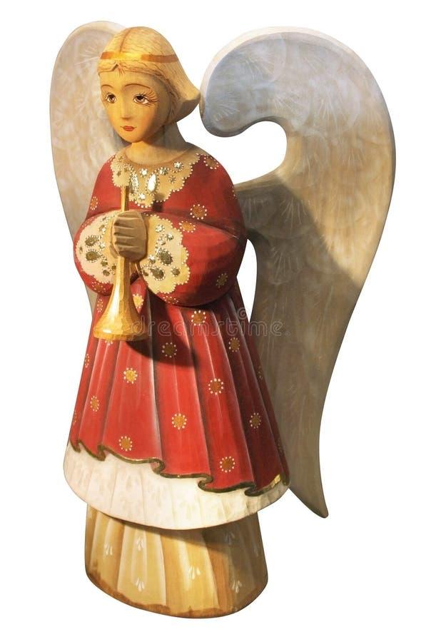 Cute decorative xmas wooden angel stock photos