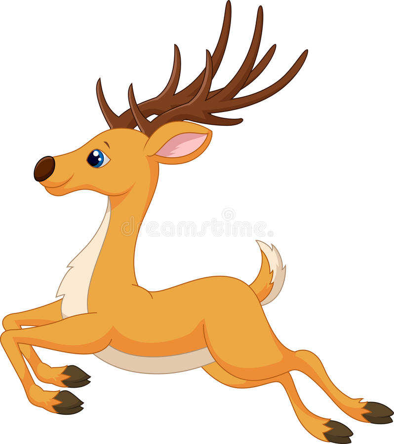 Cute deer cartoon running royalty free illustration