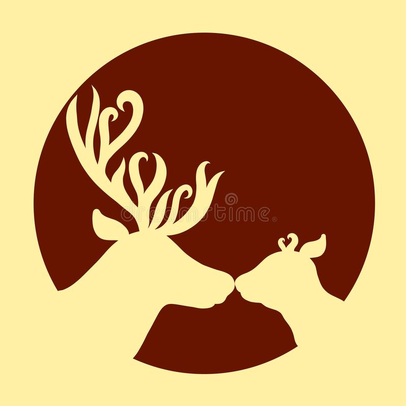 Cute deer family, affectionate kiss, background with a round frame.  vector illustration