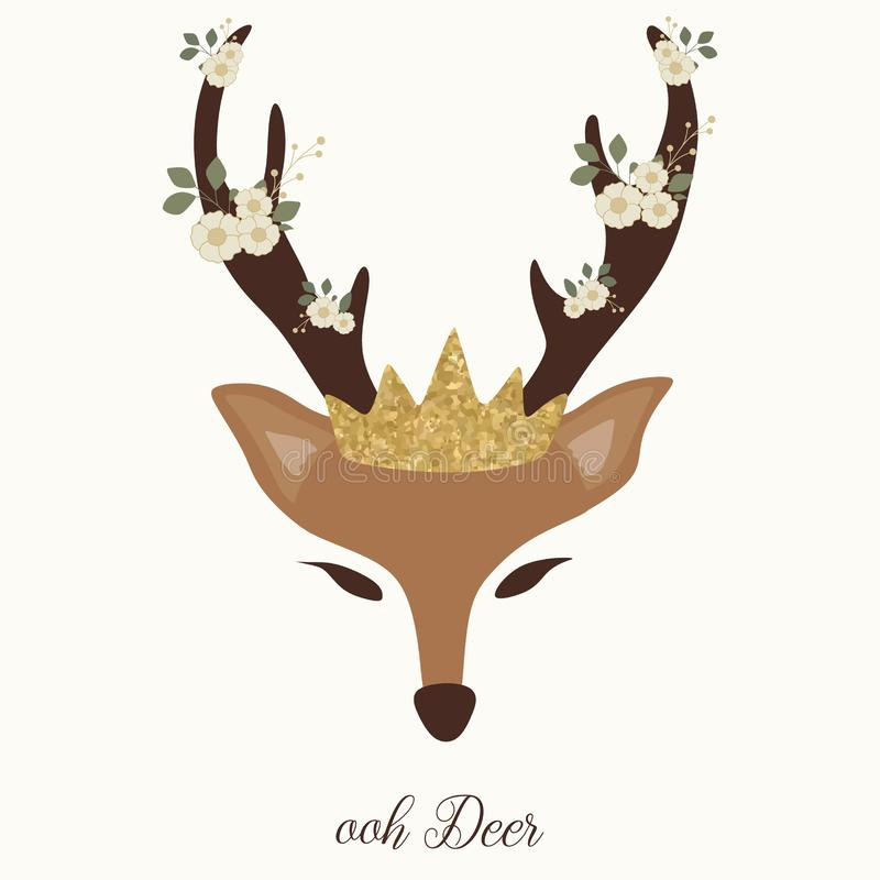 Cute deer graphic with horn, flower and crown vector illustration