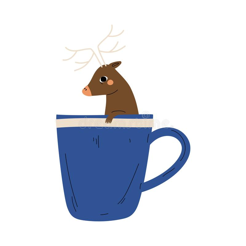 Free Cute Deer In Teacup, Adorable Little Cartoon Animal Character Sitting In Blue Coffee Mug Vector Illustration Royalty Free Stock Photography - 159735707