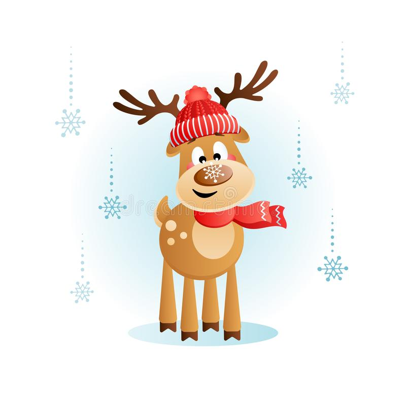 Cute Deer with a snowflake on the nose. Christmas cartoon character. royalty free illustration