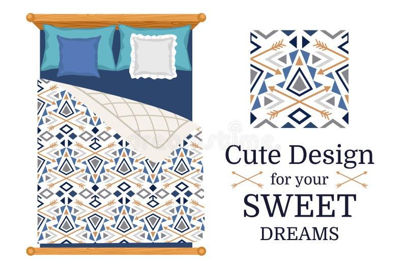 Cute design for bed linen stock illustration