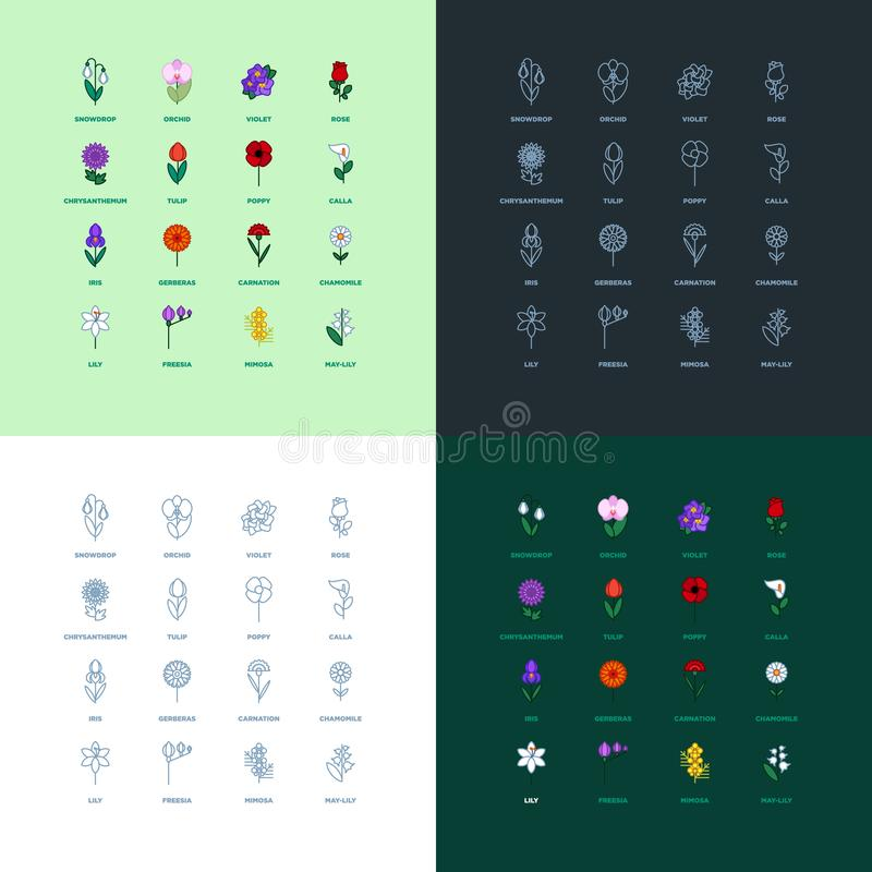Set of flat icon flower icons stock images