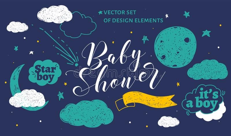 Cute design elements for baby shower invotation and party. stock photos