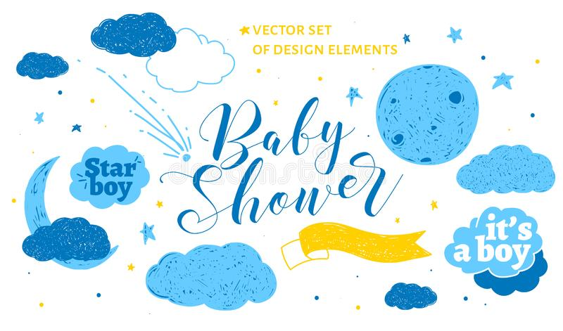 Cute design elements for baby shower invotation and party. royalty free stock image