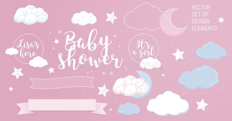 Cute design elements for baby shower invotation and party. stock images