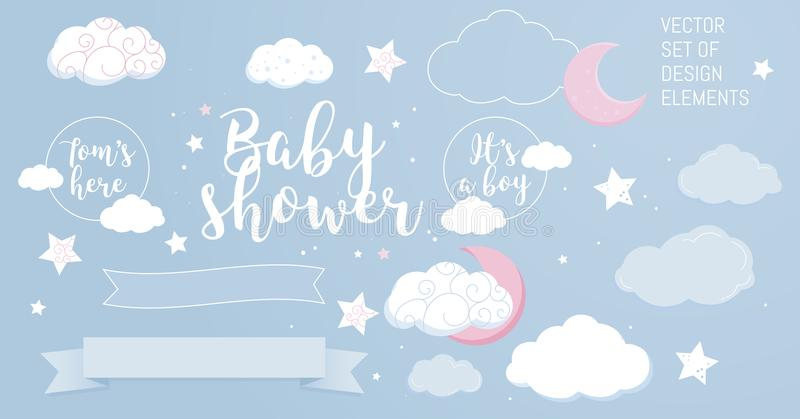 Cute design elements for baby shower invotation and party. royalty free stock photos