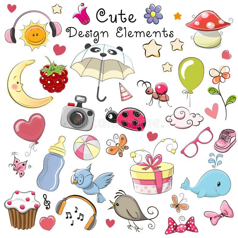 Cute design elements stock illustration