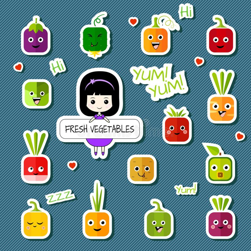 Chibi girl and square vegetable character set royalty free illustration