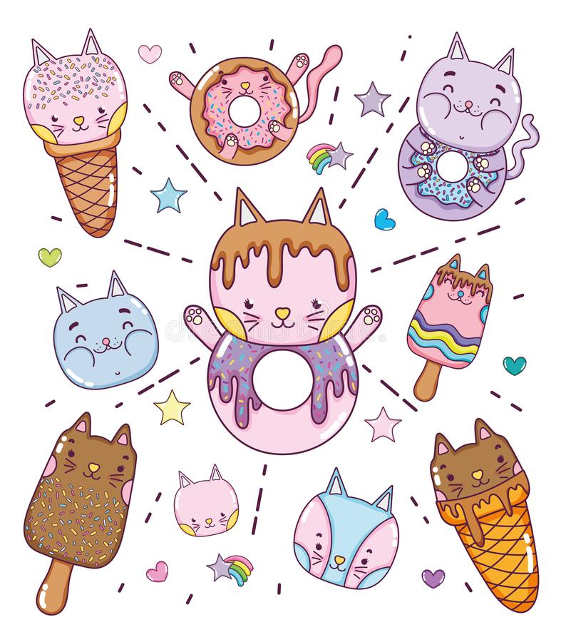 Cute desserts and icecreams cartoons. Collection vector illustration graphic design vector illustration
