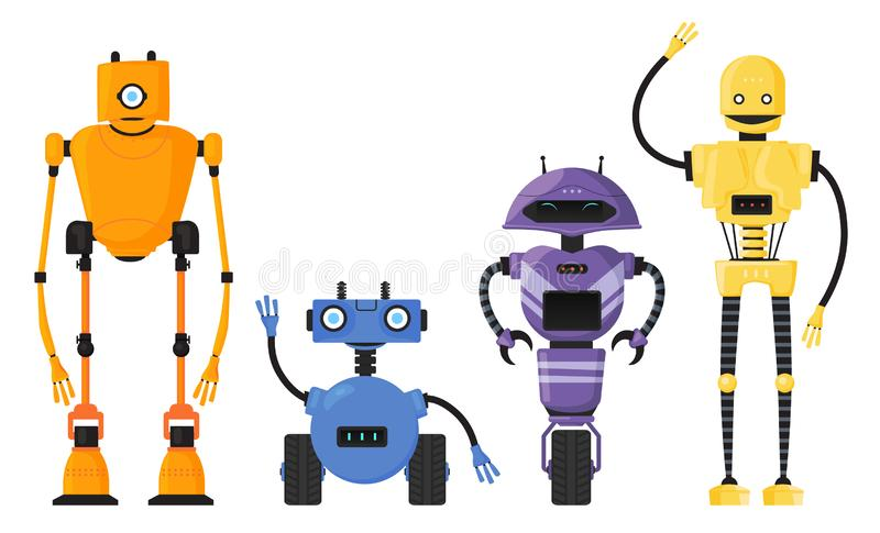 Cute detailed robot set vector isolated. Cartoon robotic character stock illustration