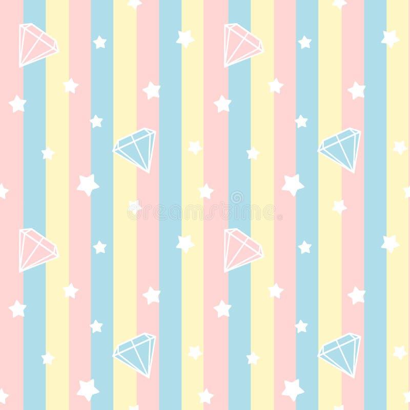Cute diamonds stone on colorful stripes seamless pattern background illustration royalty free illustration