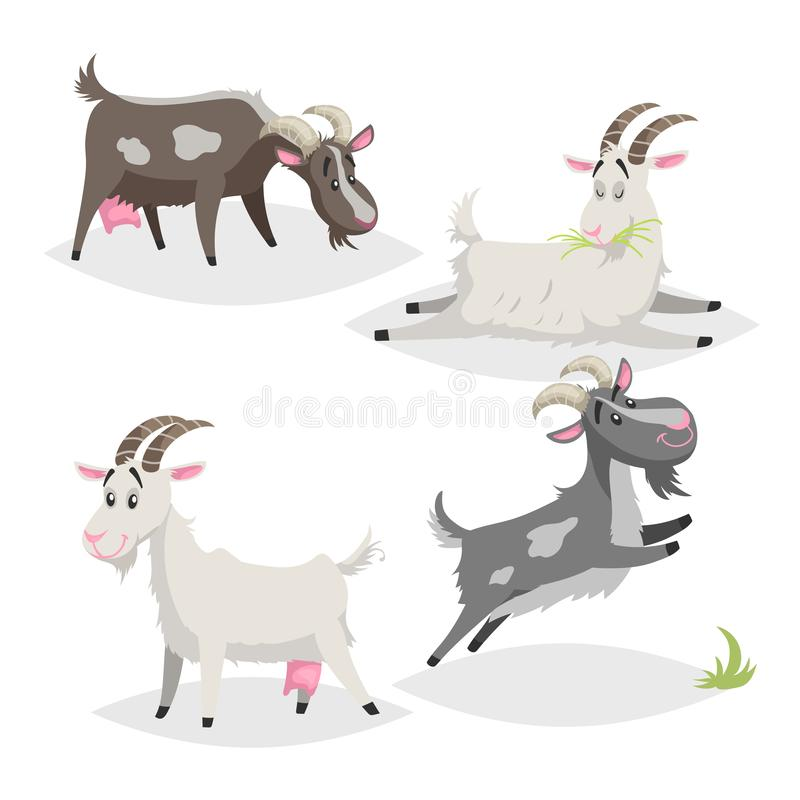 Cute different colors and breeds goats. Cartoon flat style farm animals collection. Eating, sleeping, standing and jumping goats. royalty free illustration