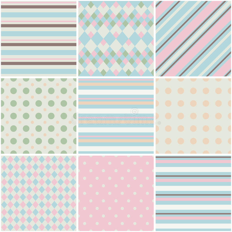 9 Cute different romantic seamless patterns stock image
