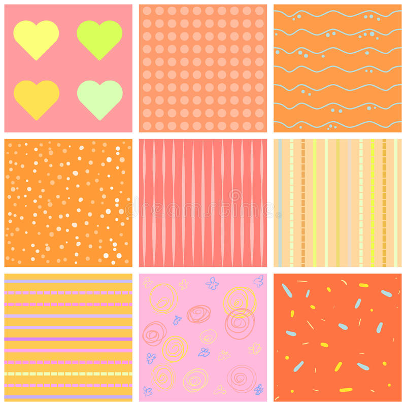 Cute different seamless patterns. Pink and white. Endless texture can be used for sweet romantic wallpaper, pattern fill, w. Cute different seamless patterns royalty free illustration