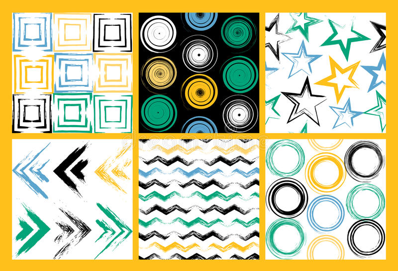 6 Cute different vector seamless patterns. Swirl, circles, brush strokes, squares, abstract geometric shapes. Polka dots royalty free illustration