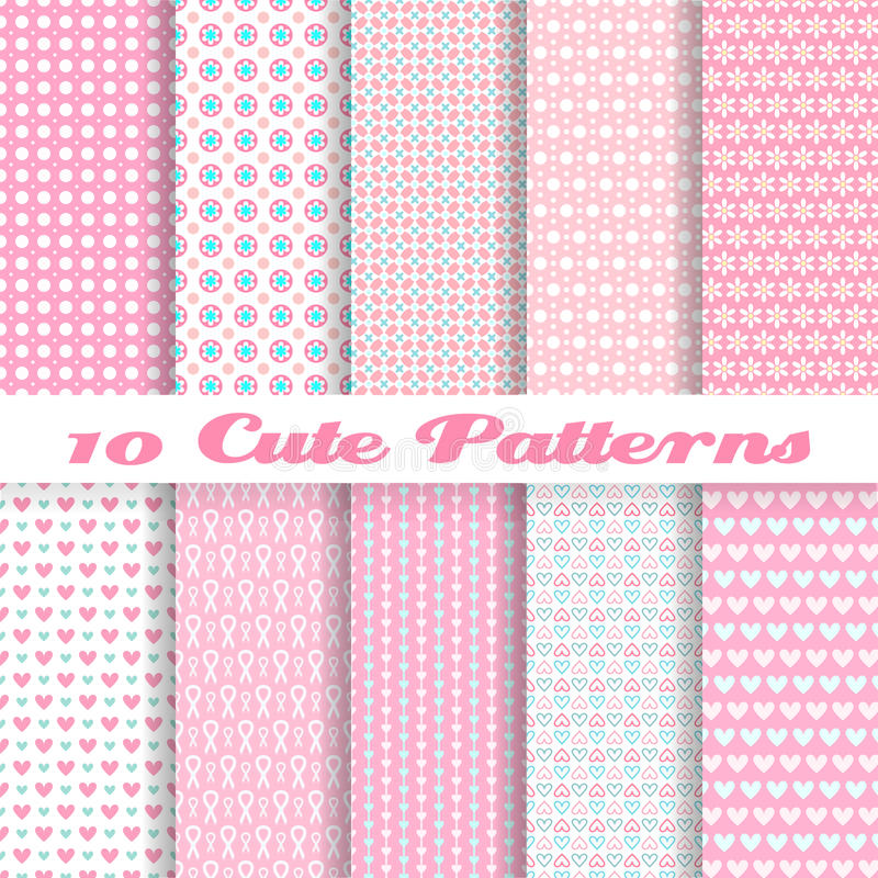 Free Cute Different Vector Seamless Patterns (tiling). Stock Images - 33359514