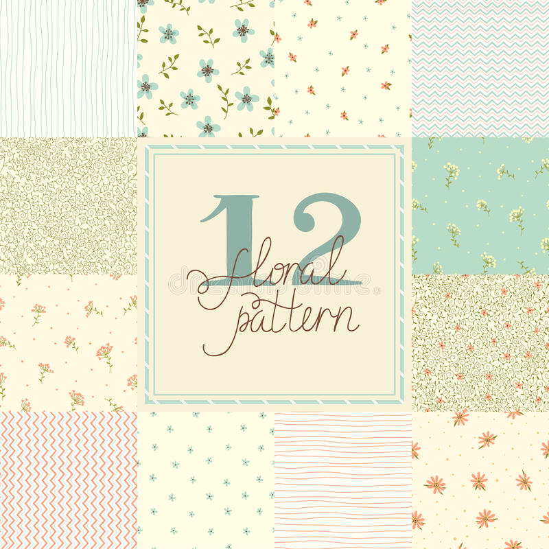 12 Cute different vector seamless patterns (tiling). royalty free illustration