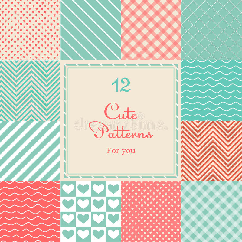 12 Cute different vector seamless patterns (tiling royalty free illustration