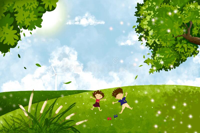 Cute digital paint of boy and girl lying down on green grass in the park, Landscape spring field with happy kids lying on the royalty free stock image