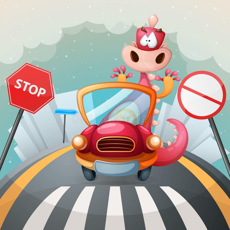 Cute dino in the car. Cute illustration. royalty free illustration