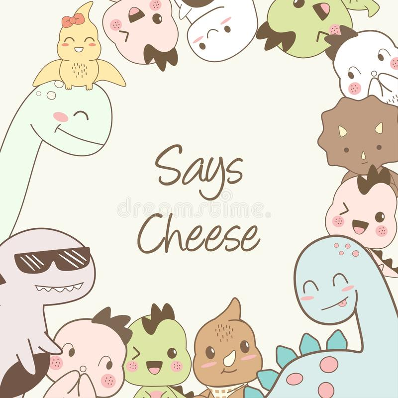Cute dino cartoons say cheese. Cute dino cartoons hand drawing say cheese. This is perfect for children, can be used as posters, backgrounds, wallpapers and stock illustration