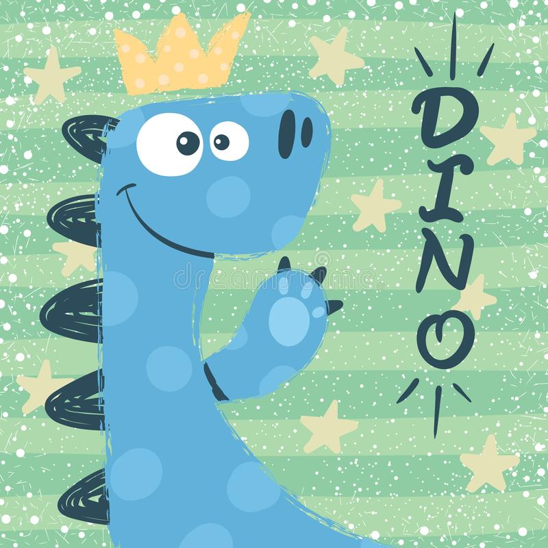 Cute dino characters. Princess illustration. Hand draw vector illustration