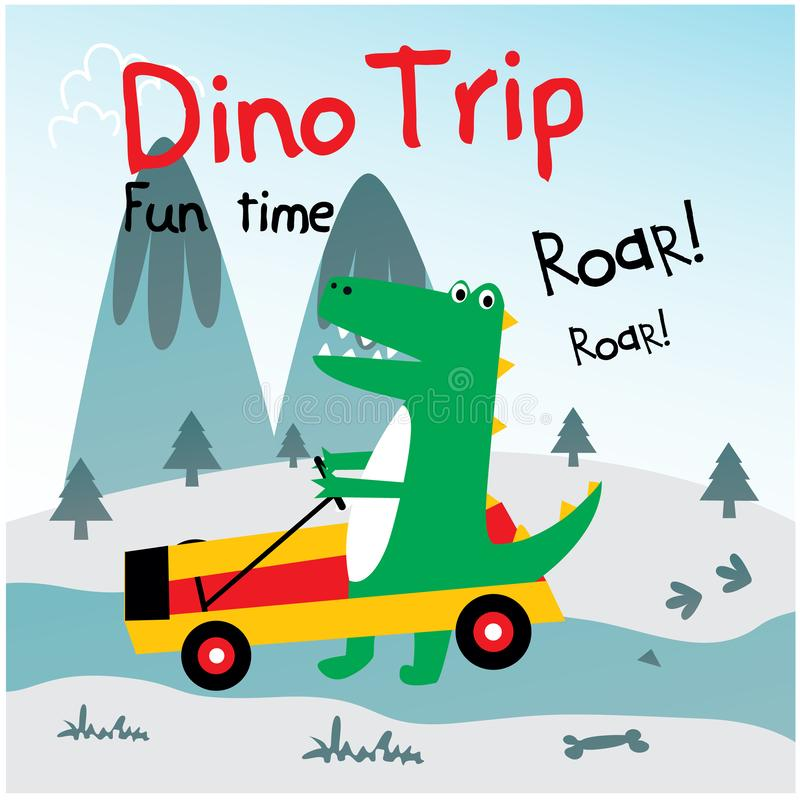 Cute dino drive funny car royalty free illustration